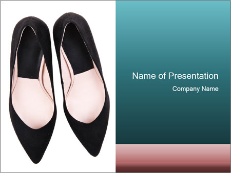 Pair Of Black High Hills Shoes PowerPoint Template