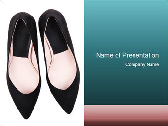 Pair Of Black High Hills Shoes PowerPoint Template - Slide 1