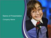 Schoolboy Wearing Glasses PowerPoint Template