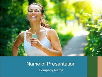 Joyful Sporty Woman PowerPoint Template - Slide 1