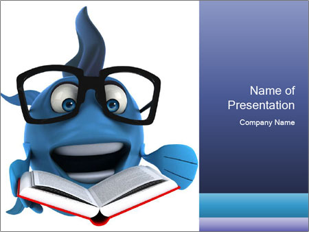 Blue Fish With Books PowerPoint Template