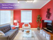 Red-Colored Livingroom PowerPoint Template