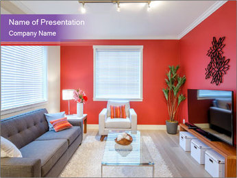 Red-Colored Livingroom PowerPoint Template - Slide 1
