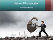 Businessman And Lock PowerPoint Template