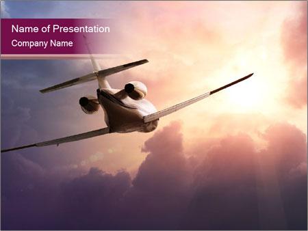 Passenger Plane In Sky PowerPoint Template