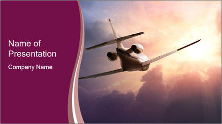 Passenger Plane In Sky PowerPoint Template