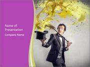 Magician And Splash Of Yellow Color PowerPoint Template
