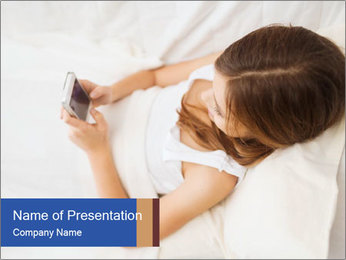 Woman Chatting In Bed PowerPoint Template - Slide 1