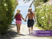 Middle-Aged Couple On Beach PowerPoint Template
