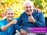 Positive Old Man And Nurse PowerPoint Template
