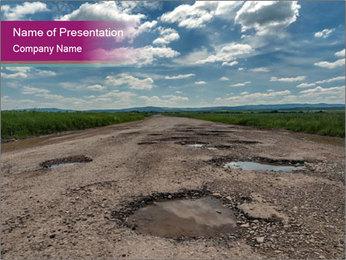 Holes On Asphalt Road PowerPoint Template - Slide 1