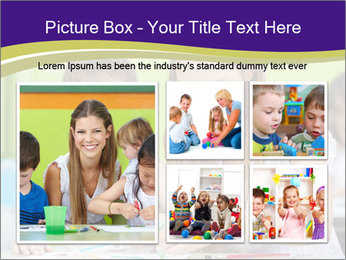 Teacher helping girl painting with watercolor in a kindergarten PowerPoint Template - Slide 19