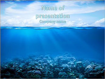 Coral reefs in the blue water and beautiful sky PowerPoint Template