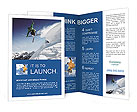 Jumping skier snow white snow Brochure Templates