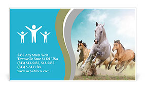 Three beautiful horses running Business Card Template
