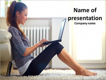 Very beautiful young girl sitting on the floor next to the bed PowerPoint Template