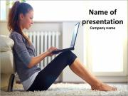Very beautiful young girl sitting on the floor next to the bed PowerPoint Templates