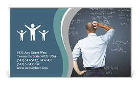 The teacher stands back and looks at the board and equations Business Card Templates