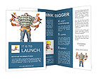 In the builder six hands with different tools Brochure Templates