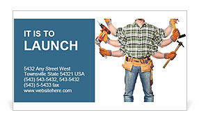 In the builder six hands with different tools Business Card Templates