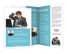 Businessman looking at a laptop and holding his head Brochure Templates