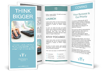 Image of female hands clicking computer mouse brochure for Computer brochure templates