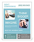 Image of female hands clicking computer mouse Flyer Template