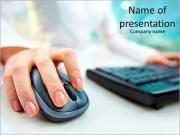Изображение женских руках нажав компьютерную мышь Шаблоны презентаций PowerPoint