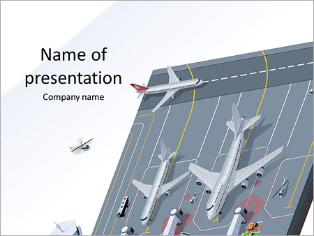 stock airport powerpoint template & backgrounds id 0000009024, Modern powerpoint