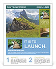 Beautiful view of mountains with alpine lawn Flyer Template