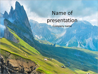 Beautiful view of mountains with alpine lawn PowerPoint Template