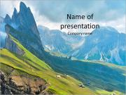 Beautiful view of mountains with alpine lawn PowerPoint Templates
