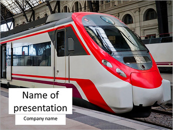 Modern train stops at the station. Barcelona, Spain. PowerPoint Template