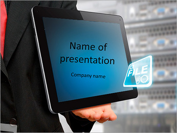 The programmer is holding tablet in hand with the title of the present PowerPoint Template