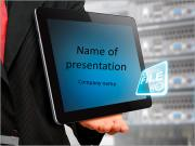The programmer is holding tablet in hand with the title of the present PowerPoint Templates