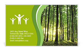 Rays of light through a beautiful green forest Business Card Template