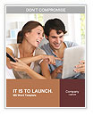 Couple smiling and making a joint selection on the tablet Word Templates