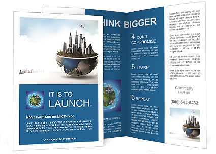 Large Buildings Are On The Section Of The Planet Brochure Template