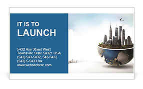 Large buildings are on the section of the planet Business Card Templates