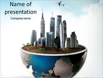 Large buildings are on the section of the planet PowerPoint Template