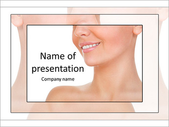 Beautiful smiling young girl in a frame PowerPoint Template