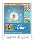 Dandelion on blue background Flyer Template
