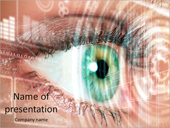Close-up eyes and Technology PowerPoint Template