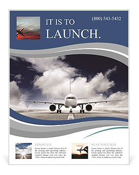 plane on the runway flyer template design id 0000009055