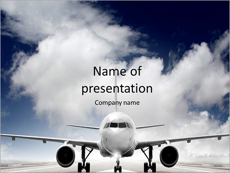 Plane on the runway powerpoint template backgrounds id plane on the runway powerpoint templates toneelgroepblik Images