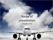 Plane on the runway PowerPoint Template