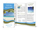 Incredibly beautiful beach in an exotic location and a palm tree Brochure Templates