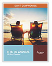 Senior couple of old man and woman sitting on the beach watching sunset Word Templates