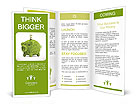 Leaf covered piggy bank - ecology and savings concept Brochure Templates