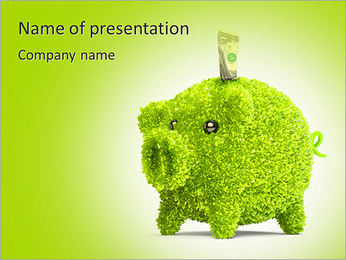 Leaf covered piggy bank - ecology and savings concept PowerPoint Template